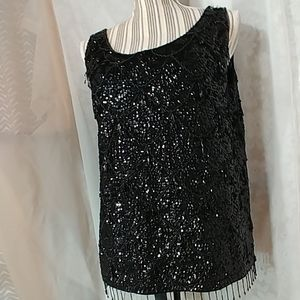 Imperial Imports Black Wool Beaded Top Large